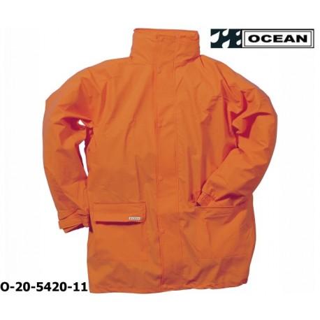 Regenjacke leicht - PU Comfort Stretch - Ocean 20-5420 orange aus 210gr PU