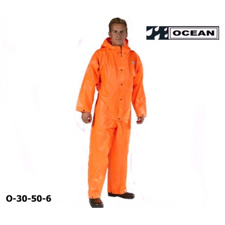 Regen-Overall OFF SHORE & FISHING, OCEAN 325 gr PVC mit Kapuze, Gummizug im Rücken