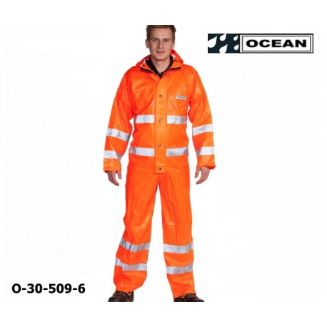 Regen-Overall orange 3M Reflexstreifen OFF SHORE & FISHING, OCEAN 325 gr PVC, EN 471 Kl.3