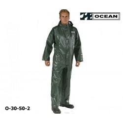 Regen-Overall OFF SHORE & FISHING, OCEAN 325 gr PVC olivgrün, Kapuze, Gummizug im Rücken