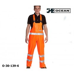 Warnschutz Regen-Latzhose fluoreszierend orange - Ocean 30-139 High-Vis Offshore & Fishing