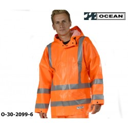 Warnschutz Regenjacke, Ocean High-Vis Off Shore & Fishing 325g PVC orange