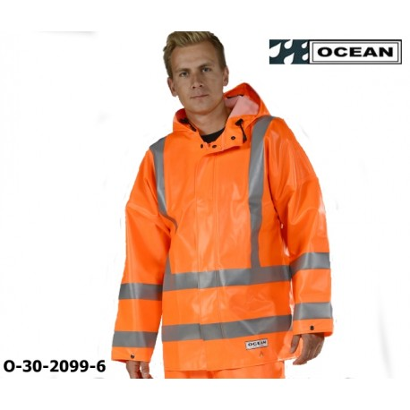 Warnschutz Regenjacke, Ocean High-Vis FR/AST Off Shore & Fishing 325g PVC orange
