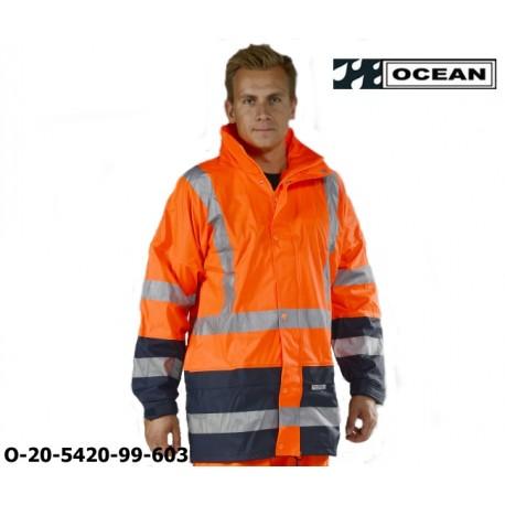 Warnschutz Regenjacke leicht - 210 Gr. PU Comfort Stretch - Ocean 20-5420-99 marine/orange