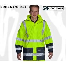 Warnschutz Regenjacke leicht - 210 Gr. PU Comfort Stretch - Ocean 20-5420-99 gelb / marine