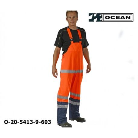 Warnschutz Regenlatzhose leicht PU Comfort Stretch Ocean Latzhose 20-5413-9 orange/marine