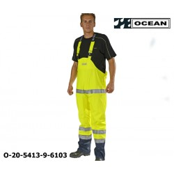 Warnschutz Regenlatzhose leicht PU Comfort Stretch Ocean Latzhose 20-5413-9 gelb/marine