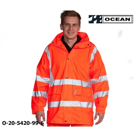 Warnschutz Regenjacke leicht - 210 Gr. PU Comfort Stretch - Ocean 20-5420-99 fluoreszierend orange