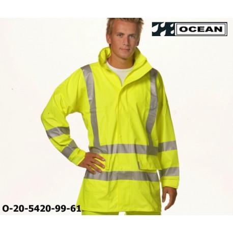 Warnschutz Regenjacke leicht - 210 Gr. PU Comfort Stretch - Ocean 20-5420-99 gelb