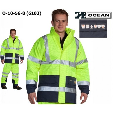 Warnschutz Jacke High Vis Multinorm, Wind- und Wasserdicht, Antistatic 3 in 1, flammhemmend