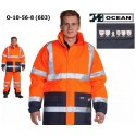 Warnschutz Parka Jacke High Vis Multinorm, Wind- & Wasserdicht, 3 in 1, flammhemmend orange-marine