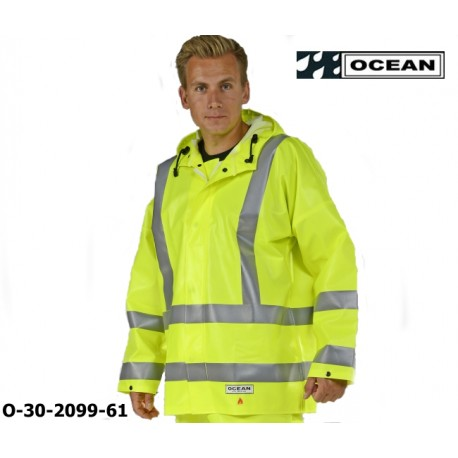 Warnschutz Regenjacke ölresistent Ocean High-Vis FR/AST Off Shore & Fishing 325g PVC gelb