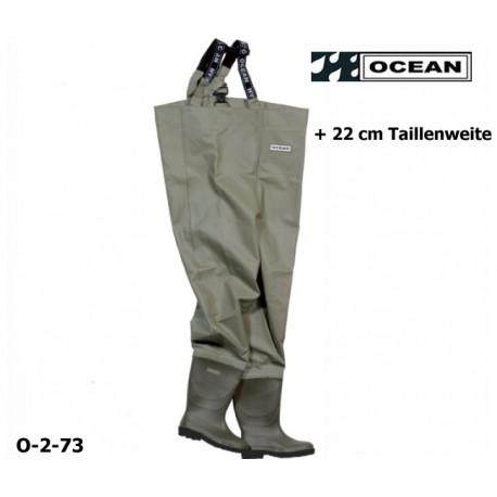 Wathose breites Modell + 22 cm OCEAN Classic 2-73, zum fischen, angeln, waten 600 gr. PVC