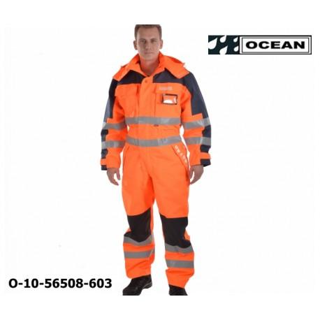 Warnschutz Overall High Vis Multinorm, Wind- & Wasserdicht, gefüttert, flammhemmend orange-marine