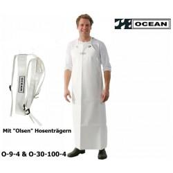 "Classik Schürze Ocean 9-4 weiß mit Ringen inklusive ""Olsen"" Hosenträger EN 343 EN14116"
