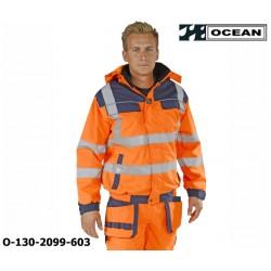 Warnschutz Jacke orange-marine Ocean Medusa bietet extrem guten Schutz gegen Wind und Wetter