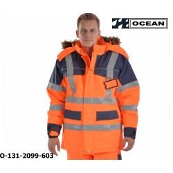 Warnschutz Winter Parka Ocean Medusa Polar orange-marine gefütterter Top Wetterschutzparka