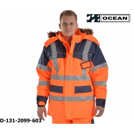Warnschutz Parka Ocean Medusa Polar orange-marine kräftig gefütterter Top Wetterschutzparka