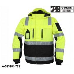 Warnschutz Jacke gelb-schwarz Ocean-Abeko gefüttert, atmungsaktiver Wind und Wetterschutz