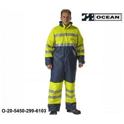 Warnschutz Regenoverall gefüttert Ocean High vis gelb/marine