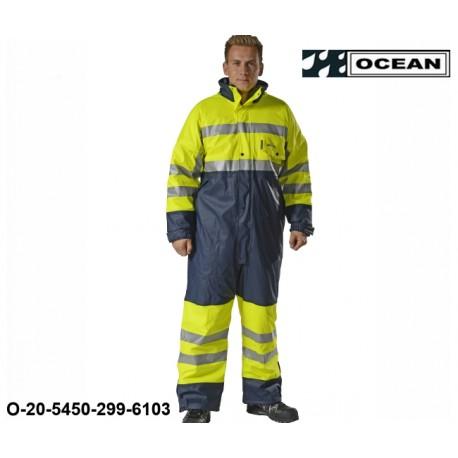 Warnschutz Regenoverall gefüttert Ocean High vis Ocean Comfort Stretch High-vis gelb/marine